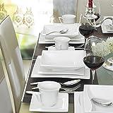 MALACASA, Serie Carina, 60 tlg. Cremeweiß Porzellan Geschirrset Kombiservice Tafelservice mit je 12 Kaffeetassen, 12 Untertassen, 12 Dessertteller, 12 Suppenteller und 12 Flachteller - 5