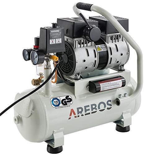 Arebos Flüsterkompressor | Kompressor | 12 Liter | 500 Watt | Ölfrei | Ansaugleistung 89 L/min | Euro Schnellkupplung | GS geprüft von TÜV Süd
