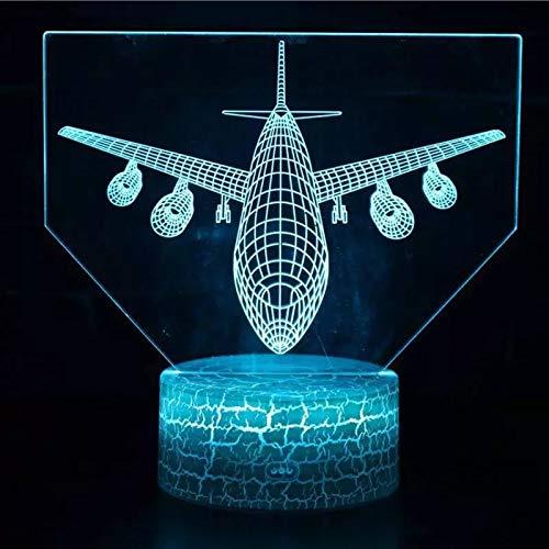 Transporte creativo forma de avión lámpara de atmósfera 3D interfaz USB lámpara de mesa lámpara de tablero acrílico lámpara de mesa de decoración de regalo de vacaciones