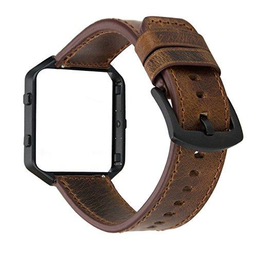 MroTech Horlogeband Lederen Armband compatibel voor Fitbit Blaze Smartwatch Reserveband Leer Kijk Horloge Band met Stalen Frame Polsband Wisselarmband-Texture bruine band/zwarte gesp/zwart frame