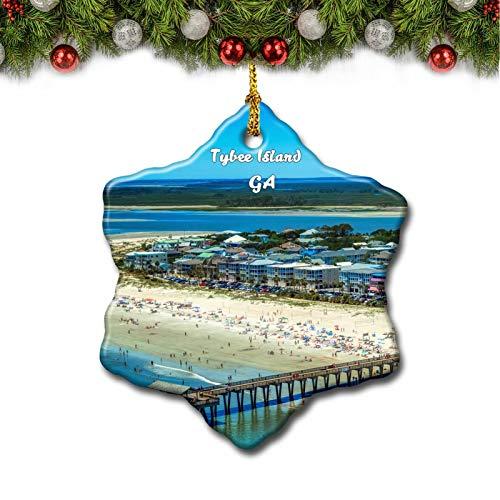 Umsufa Tybee Island Pier Georgia USA Christmas Tree Ornament Travel Gift Souvenir 3 Inch Porcelain Double Side