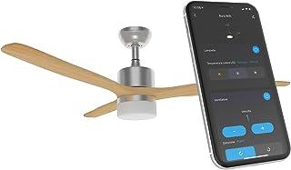 Ventilateur de plafond Wi-Fi (2,4 GHz) – 132 cm. Moteur avec inversion de rotation et lampe LED 15 W couleur 2700-4000-600...