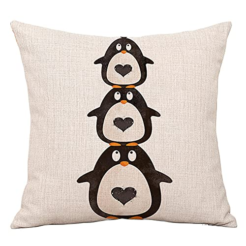 YINGZG Cushion Covers 60x60cm 24x24 Inch Cartoon Animals Square Throw Pillow Case Linen Cotton Cushion Covers with Invisible Zipper Decorative Cushion Covers for Sofa Bedroom Z1589