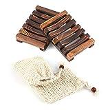ZITFRI Seifenschale Holz Dusche Seifensack - 2 Stück nachhaltige Seifenhalter mit 2 Stück...