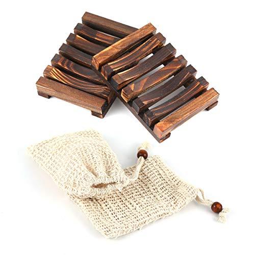 ZITFRI Seifenschale Holz Dusche Seifensack - 2 Stück nachhaltige Seifenhalter mit 2 Stück Seifensäckchen - Natürliche Seifenhalter Bio Seifensack mit Kordel für Bad Waschbecken