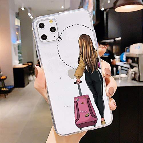 AAA&LIU Custodia Morbida in TPU per iPhone 11 PRO Max X 6S 7 8 Plus X XR XS Max 5 5S SE 2020 Custodie Cover Posteriore Coque Pretty Girl Best Friends, 01, per iPhone 6 6S