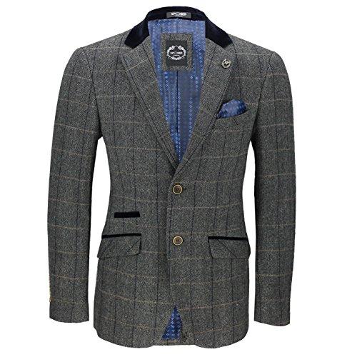Xposed Herren-Blazer im Vintage-Stil, Tweed, Fischgrätenmuster, Eiche, Braun, Grau, mit Samt-Kragen, Ellenbogen-Patch Gr. 6, dunkelgrau