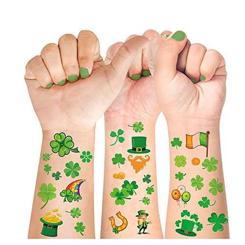St Patricks Day Tattoos,16 Unique Sheets, 140 Pcs St Patricks Day Stickers, St. patrick's Day Temporary Tattoos Shamrock, Amazing Irish St Patricks Day Decorations Party Favors, A HIT for Your event!