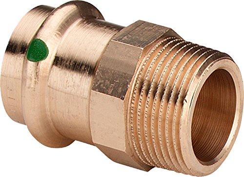 Viega Sanpress Rotguss-Übergangsstück, 15mm Pressanschluss x 1/2 Zoll R-Gewinde (Aussengewinde), Type 2211, 5 Stück