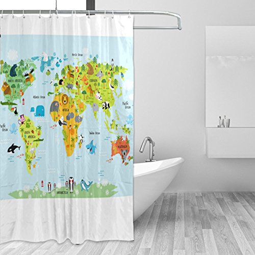 JSTEL Landkarte der Welt & bei der Pferde Schimmel Wasserdicht Duschvorhang, wasserdicht, Polyester, mit 72x 72cm, extra-lange Badezimmer Deko-Liner mit Haken