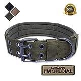 S.Lux Collare tattico per cani, in nylon, stile militare, regolabile, con fibbia a D in me...