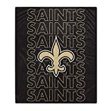 Pegasus Sports NFL Echo Team Wordmark Plush Blanket- New Orleans Saints, Team Color, 60x70