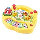 Juguete musical para bebés y niños, colorido, para bebés, niños, piano musical educativo, patrón de granja de animales, juguete musical para el desarrollo, niños para regalo de cumpleaños (amarillo)