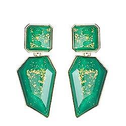 A-Green Acrylic Geometric Rhinestone Statement Drop Earring