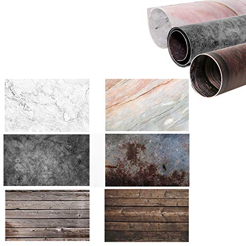 Selens 22x35 Inch (56x88cm) 2 in 1 Wood Backdrop Marble Background Cement Wall Texture Background Photo Backdrop Paper for Food Jewelry Cosmetics Makeup Small Product Prop Photo Photography(3 Pack)