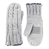 isotoner womens Chunky Cable Knit Mittens With Warm Soft Lining Cold Weather Gloves, Smart...