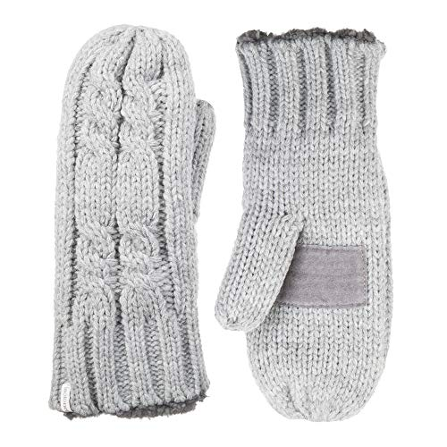 isotoner womens Chunky Cable Knit Mittens With Warm Soft Lining Cold Weather Gloves, Smartdri Heather Grey, One Size US