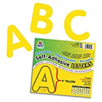 (10cm , 12-Count, Yellow) - Pacon PAC51622 Self-Adhesive Letters - Removable, Repositionable, Reusable, 10cm , Yellow, 78 Pieces