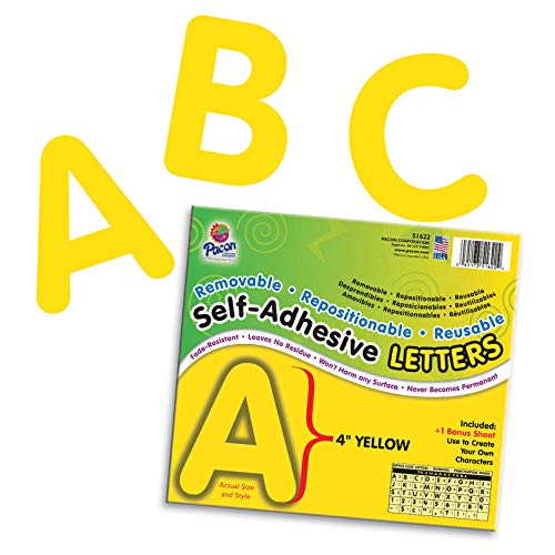 """Pacon PAC51622 Self-Adhesive Letters - Removable, Repositionable, Reusable, 4"""", Yellow, 78 Pieces"""