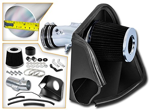 Cold Air Intake System with Heat Shield Kit + Filter Combo BLACK Compatible For 07-12 Nissan Altima 3.5L V6