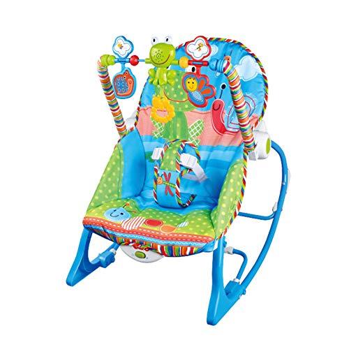 KUKU Silla Mecedora de bebé Multifuncional, Columpio de bebé, Columpio portátil con música de vibración, Tela de PP Suave, Adecuado para bebés, niños (Azul-Verde)