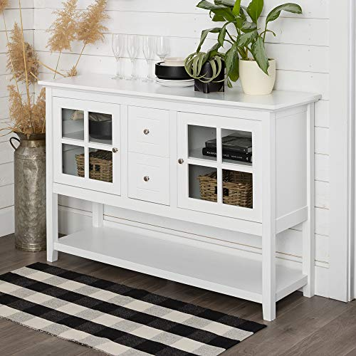 Walker Edison Charlotte Classic Glass-Door-Storage-Buffet, 52 Inch, White