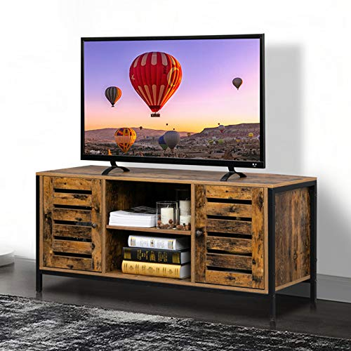 Bonnlo Vintage Media Console TV Stand with Storage Rustic Entertainment Center for TVs up to 50' with Cabinet and Shelf Industrial TV Stand with Metal Frame in Living Room, Bedroom, Gaming Room