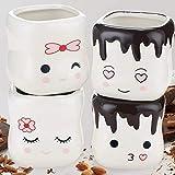 New Marshmallow Shaped Mugs Set of 4 - Cute Hot Chocolate Mug - Ceramic Kids Cocoa Mug - Marshmallow Cup - Funny Coffee Mug Gift