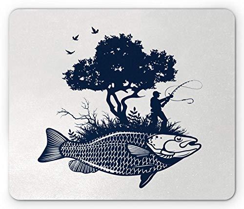 Alfombrilla de ratón que se fue de pesca, Gráfico abstracto de la silueta del hombre y del árbol en la isla con forma de pez, Alfombrilla de ratón de goma antideslizante de tamaño estándar, Azul viole
