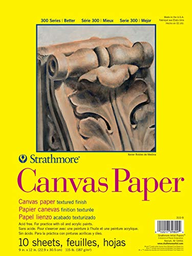 Strathmore (310-9) 300 Series Canvas Pad, 9'x12' Glue Bound, 10 Sheets