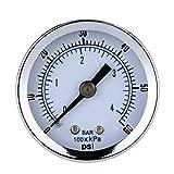 Lorsoul NPT Mini calibrador de presión, de 40 mm 0-60psi 1/8' Compresor de Aire, indicador de vacío hidráulico probador de la presión del manómetro
