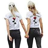 Oberteile Damen Sommer, Ulanda Best Friends Sister T-Shirt mit Rose Stickerei Bedruckte für Einem Frauen Teenager Mädchen Kurzarm Bluse Hemd Oberteile Locker Top Shirt