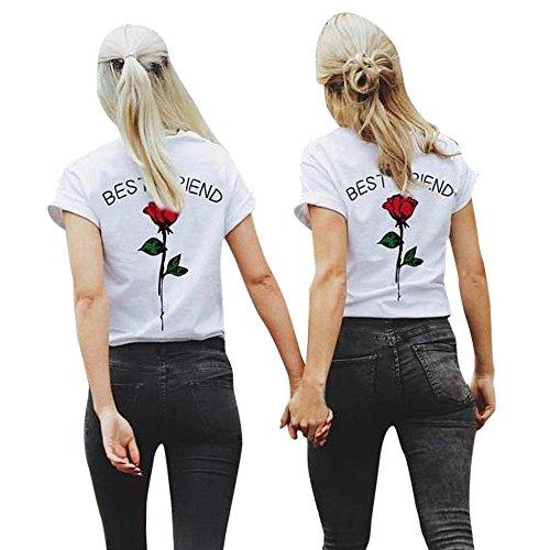 Zimuuy Zimuuy Damen Sommer Bluse, Frau Mode Beiläufiges Buchstaben Rose Gedruckt Kurzarm T Shirt für Bester Freund Oberteile Crop Top (XXXL, rot)