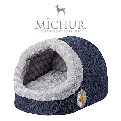 Michur Katzenhöhle & Hundehöhle Jule, waschbare Kuschelhöhle für Katzen und Hunde in edlem dunkelblau, mit beidseitig anwendbarem Kissen, für kleine Hunde und Katzen, 43 x 34 x 27 cm