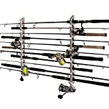 Rush Creek Creations Fishing Rod and Pole Rack - Storage Holder on Wall or Ceiling, Barn Wood Laminate
