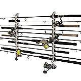 Rush Creek Creations 2 in 1, 11 Fishing Rod/Pole Storage Wall/Ceiling Rack, Barn Wood, One Size (B07M9FYX1P)