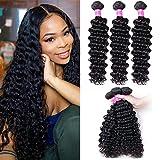 Deep Wave Bundles 16 18 20 Inches Human Hair Bundles 10A Brazilian Virgin Deep Curly Hair Bundles Weave Wet and Wavy Natural Color (16 18 20)