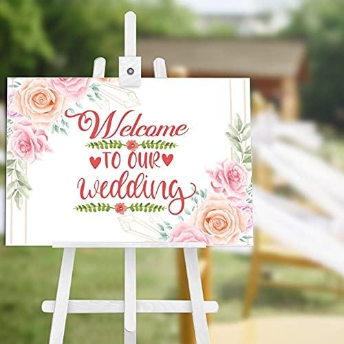 Panneau de bienvenue en bois rustique avec inscription « Welcome to Our Wedding » - Affiche de bienvenue de mariage - Panneau de réception de mariage personnalisé - 30,5 x 45,7 cm
