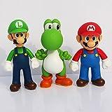 lovemmm Super Mario Bros Luigi Yoshi Figures Toys Cake Topper 3 Sets ( 5 inches/ 13cm )