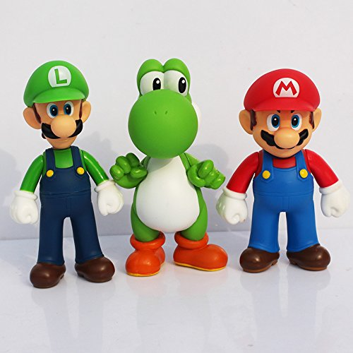 3 Sets Mario Figures Toys Cake Topper 3 Sets (5 inches/ 13cm)