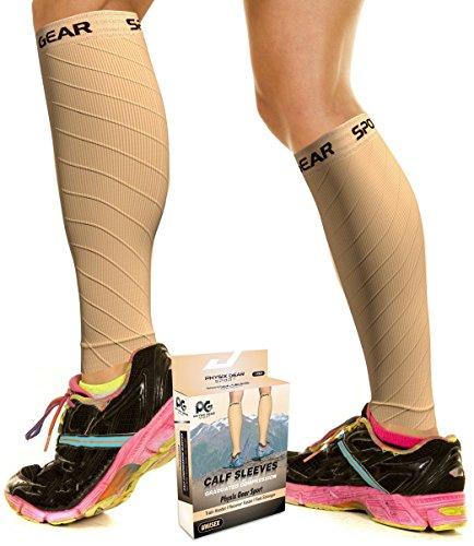 Physix Gear Wadenbandage für schwere Beine Waden Kompressionsstrümpfe Damen & Herren Waden Kompression für schnellere Regeneration Wadenschoner Kompressionsstulpen mit Wadenkompression Haut L/XL