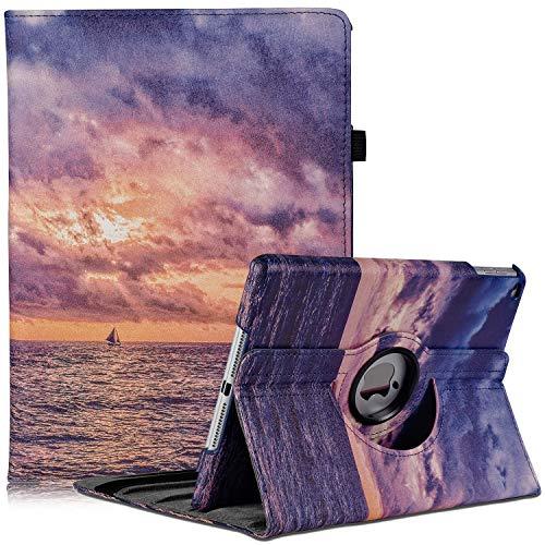 Hülle für iPad 5th/6th Generation, iPad Air 2, iPad Air, 360 Grad Drehung Schutzhülle Lederhülle Drehbar Ständer Auto Schlaf/Aufwach für iPad 9.7 2018/2017 (Fire Cloud)