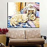 Geiqianjiumai por Digital Cat Animal Dog Modern Home Decoration Modular Wall Art Gift Picture Frameless Painting 30x40 cm