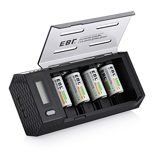EBL C Size Rechargeable Batteries (4 Pack) with Upgraded LCD AA AAA C D 9V Battery Charger with 2 USB Port & Discharge Function