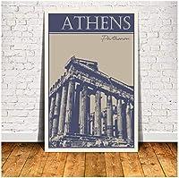 アテネパルテノン壁アートキャンバス絵画ポスターリビングルーム家の装飾壁の装飾-60x80cmフレームなし
