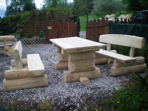 8 Personen Holzbalken Garten Sitzgruppe Bild 5*