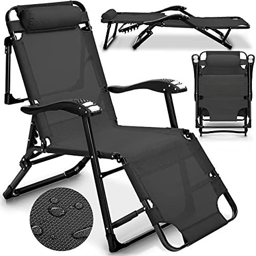 tillvex Sonnenliege klappbar mit Kopfkissen und Massagefunktion | Gartenliege verstellbar mit Stahlrahmen | Liegestuhl mit Verstellbarer Rückenlehne und Armlehnen (Anthrazit)