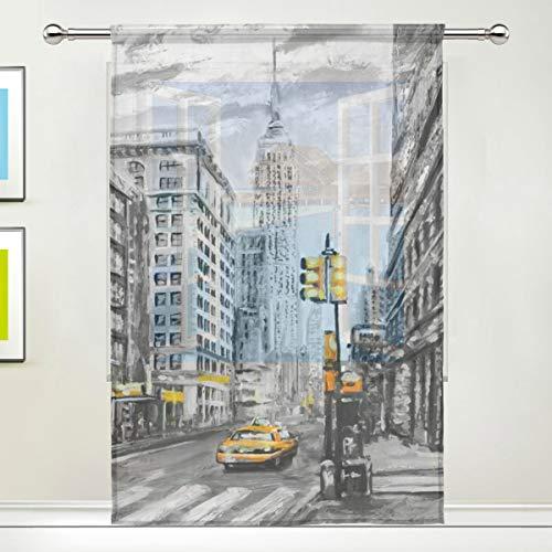 DOSHINE Vorhang Vorhang New York City Street Art Gemälde für Tür, Fenster, Schlafzimmer, Badezimmer, Küche, Wohnzimmer 139,7 x 198 cm, 1 Paneel, Polyester, Multi, 55