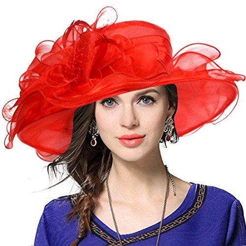 Women's Church Derby Dress Fascinator Bridal Cap British Tea Party Wedding Hat (Red)