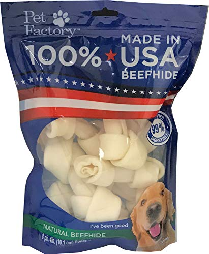 Pet Factory 78114 Beefhide Dog Bones 4-5' 8 Pack, 99% Digestible Rawhide Treats, 100% Natural Rawhide Knotted Bones, Natural Flavor, Resealable Package, Made in USA